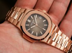"""Patek Philippe Nautilus 5711/1R Watch In All Rose Gold Hands-On - by Ariel Adams - on aBlogtoWatch.com """"One of the new 2015 Patek Philippe watches is an all 18k rose gold version of the Nautilus known as the ref. 5177/1R - more specifically, the 5711/1R-001 - and here it is in the flesh. Patek Philippe is a brand mostly known for its immaculately conservative mechanical timepieces that hearken to the past as well as high auction results..."""""""