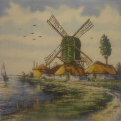 Decorative Holland Delft Tile, Italy, Signed Piana