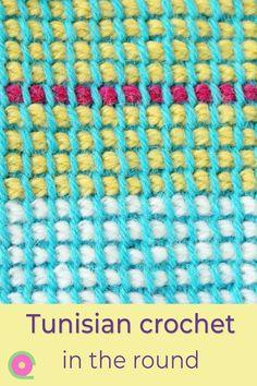 Tunisian crochet in the round in two colors Tunisian Crochet Patterns, Crochet Stitches Free, Crochet Stitches For Beginners, Crochet Videos, Crochet Tutorials, Crochet Gloves, Crochet Hooks, Diy Crochet, Wrist Warmers