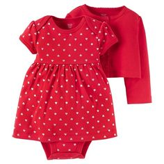 Baby Girls' 2 Piece Dress Set Red - Just One You™ Made by Carter's®