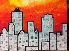 skyline met sint en piet, groepswerk