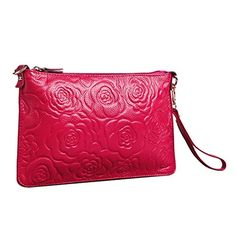 Shengdilu Women's Genuine Leather Evening Clutch Purse Shoulder Wristlet Bag Messager Floral Print