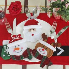 Christmas Decorations For Home Snowman Cutlery Bags Christmas Santa Claus Kitchen Dining Table Cutlery Suit Set Decor Christmas Gift Bags, Christmas Snowman, Christmas Humor, Christmas Crafts, Christmas Ornaments, Merry Christmas, Funny Christmas Decorations, Dining Table In Kitchen, Christmas Design