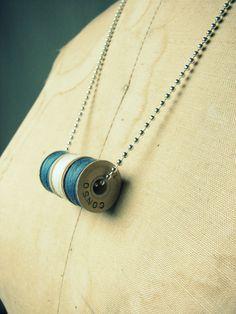 Seamstress Necklace Blue White Blue by WesleyAsher on Etsy, $16.00