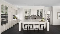 Dark Timber Flooring, Shaker Style Kitchens, Feature Tiles, Boutique Homes, Display Homes, Modern Kitchen Design, Soft Furnishings, Canopy, Home And Garden