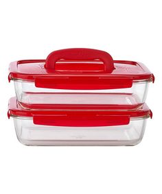 Red Glass Rectangle Storage Container - Set of Two #zulily #zulilyfinds