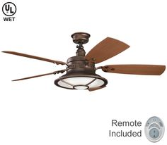 Kichler Harbour Walk Out Fan 310102WCP, at Del Mar Fans & Lighting, over 100,000 happy customers