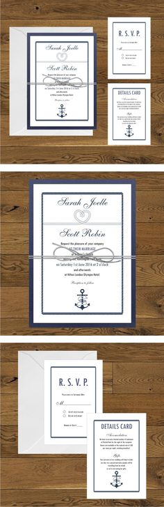 Nautical wedding invitations - navy blue and white