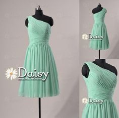 Mint Bridesmaid Dress 2013 One-Shoulder Short Chiffon Cocktail/Homecoming/Party Dress - Chiffon Bridesmaid Dress(BM032230) on Etsy, $90.41 AUD