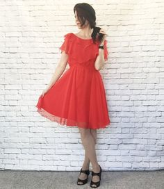 Vintage 70s Sheer Red Layered Dress S M Ruffled Tiered Chiffon Knee Length by PopFizzVintage on Etsy