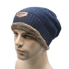Bestfort Oversize Wollmütze Männer Der Hut Warme Fein Strick Beanie Mütze mit Flecht Muster sehr Weiche Plus Samt Hut (Blau)
