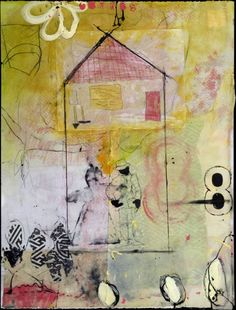 Encaustic Mixed Media on Paper - Pump House