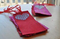 Kid Sewn Valentine Bookmarks