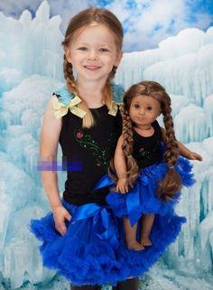 Conjunto De Saia Tutu E Blusinha Azul Anna + Roupinha De Boneca Igual