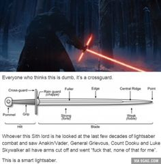 """This is true. HOWEVER, lightsabers are not supposed to look like claymores. There have been lightsabers in the Star wars expanded universe that have had cross-guards but those were not as extreme and they were made of cortosis (lightsaber """"proof"""" metal) not lightsabers. The cool thing about cortosis is that when a lightsaber blade touches it the lightsaber will shut off."""