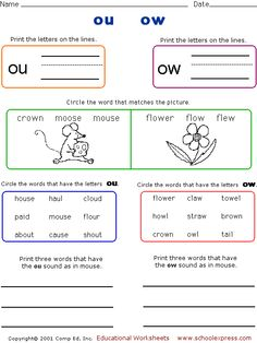 Worksheets Ou Ow Worksheets ou ow diphthongs bandage word sort anchor charts anchors and worksheets