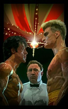 I applaud whoever made this! Rocky Balboa, Rocky Film, Rocky 3, Stallone Rocky, Dolph Lundgren, Art Of Fighting, Funny Caricatures, Love Film, The Expendables