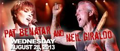 WED AUG 28 SHOW: Opening act,Chris Adams takes the stage between 6-6:30pm. Pat Benatar & Neil Giraldo HIT TIME is between 7:3o and 8pm.