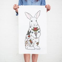 tattoo rabbit teatowel by sophie parker | notonthehighstreet.com