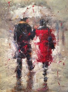 SETH untitled (couple in rain) $1,500.00 original, oil on canvas 36″ x 48″, unframed