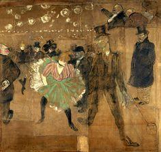 Au Moulin Rouge La Goulue et Valentin le désossé  Toulouse-Lautrec 1895 Panneau réalisé pour la roulotte de la Goulue, à la foire du Trône