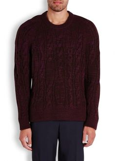 Burgundy cable-knit wool blend jumper - Knitwear - All Clothing - Men