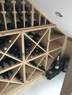Bespoke wine racking for under stairs wine storage, perfect for any home re-desi. Bespoke wine racking for under stairs wine storage, perfect for any home re-design or makeover! Made from hand in th Under Stairs Wine Cellar, Wine Cellar Basement, Closet Under Stairs, Under Stairs Cupboard, Bar Under Stairs, Stair Storage, Cube Storage, Closet Storage, Storage Ideas