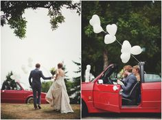 awesome 80s wedding transport! 1985 red VW cabriolet