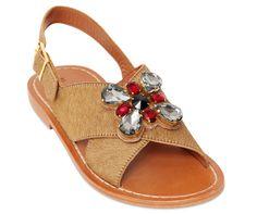 Marni Ponyskin Sandals with Jeweled Flower