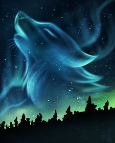 Drawing Art tutorial how to draw a wolf spirit In this pic looks like Aura Borealis Please also visit www JustForYouPr Wolf painting Wolf spirit Animal art