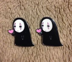 No Face (Keonashi) Holding Heart Pins His and Hers Valentine's Day Gifts - Handmade, Repurposed From Charms