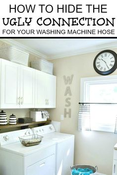 Xbox Bedroom Decor How to hide the ugly washing machine hose connection in your laundry area. Bedroom Decor How to hide the ugly washing machine hose connection in your laundry area. Hidden Laundry Rooms, Laundry Room Shelves, Laundry Room Signs, Laundry Area, Home Decor Signs, Cheap Home Decor, Diy Home Decor, Washing Machine Hose, Hall