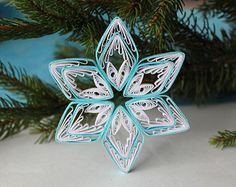 Blue quilled snowflake / quilling ornament / christmas decoration / christmas handmade gift