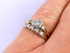 SOLD! 0.66 TCW Vintage Diamond Engagement Ring and Wedding Band Bridal Set 14k Gold Size 6.5