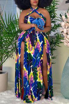 Blue Fashion Sexy Plus Size Print Backless Slit Halter Sleeveless Dress Leopard Fashion, Orange Fashion, Colorful Fashion, Purple Fashion, Plus Size Dresses, Plus Size Outfits, Sexy Dresses, Beautiful Dresses, African Fashion
