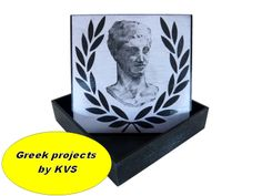 by kvs-artcreations.the bust of Hermes of Praxiteles.is painted by Eva Arvanitidou Decoupage Box, Bookends, Hermes, Greek, Objects, Ink, Canvas, Image, Home Decor