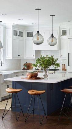 New Kitchen, Kitchen Island, Timber Benchtop, Kitchen Inspiration, Style Inspiration, Modern Farmhouse Plans, Counter Stools, Kitchen Lighting, Homeland