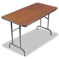 Alera 4 Melamine Folding Table - Walnut