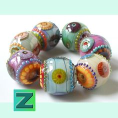 Seascape+Shimmer++7+fantastic+beads++lampwork+by+Sarah+by+zbeads