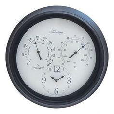 Metal wall clock with weather gauges and a black frame.  Product: ClockConstruction Material: MetalColor: Black and whiteFeatures:  Suitable for indoor or outdoor useMeasures temperature and humidity Dimensions: 14 Diameter x 2 DNote: Batteries not includedCleaning and Care: Wipe with a dry cloth