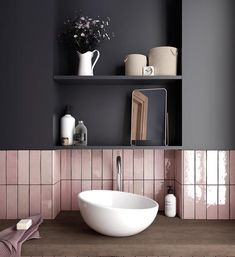 Australian bathroom trends: November 2018 edition - The Interiors Addict - - Australian bathroom trends: November 2018 edition – The Interiors Addict Lovely Bathroom Decor inspiration Grand Designs tiles Ceramic Subway Tile, Subway Tiles, Tile Wood, Concrete Tiles, Ceramic Plates, Pink Tiles, Black Tiles, Dark Grey Tiles, Black Grout