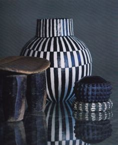 Black and white clay pot by South African ceramic artist & art icon Barbara Jackson (1949 - 2010)