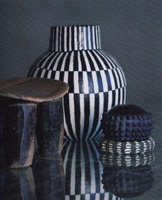 Black and white clay pot by South African ceramic artist & art icon Barbara Jackson (1949-2010). via ArtPropelled