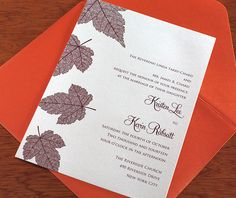 Created with the changing seasons in mind, Autumn is the perfect fall wedding invitation design. Falling leaves create a wonderful motif that carries through to your maps, accommodation cards, and more. | Invitations by Ajalon