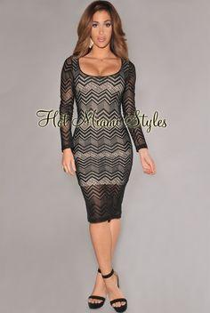 Black Chevron Lace Nude Illusion Knee-Length Dress