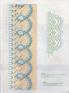 Check out the diagrams and learn to make more than 150 points, (crochet edgings) with images. There are several crochet borders that can be applied in various crochet projects. This post was discovered by HU Eliana Painting and Crochet: Crochet nozzles wi Crochet Border Patterns, Crochet Boarders, Crochet Lace Edging, Crochet Motifs, Crochet Chart, Lace Patterns, Thread Crochet, Crochet Trim, Crochet Designs