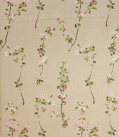 Pretty fabric covered in blossom. Cerisier fabric is made from 100% linen. A super curtain material. Buy this fabric online or from one of our fabric shops in the heart of the Cotswolds, where you can view a wide range of designer clearance fabricat discount prices along with our regular lines.