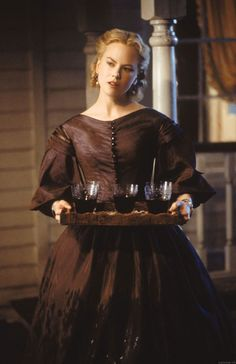 Crinoline dress in 'Cold Mountain' - Nicole Kidman wears a typical Crinoline dress with a hoop skirt as support, fitted bodice, and characteristic hair style parted in the middle and curled