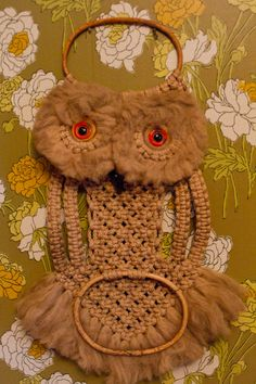 Macrame!  we had an owl or two like this and too many plant hangers, lets hope macrame doesn't make a sudden comeback.