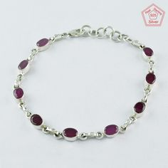 RUBY AGATE STONE FASHION DESIGN 925 STERLING SILVER BRACELET BR4341 #SilvexImagesIndiaPvtLtd #Chain